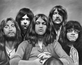 """The Deep Purple rock group painting, Ritchie Blackmore poster, print, reproduction, artwork, 16""""x20"""",22.4x28"""",30""""x40"""""""