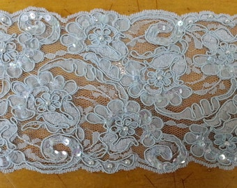 Lace Trim - Beaded with Sequins & Pearls - Light Blue/Dusty Rose (#CO39-RB)