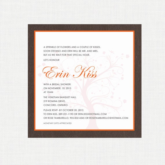 Printable Wedding Shower Invitation- Fall Shower Invitation - Autumn Wedding - Digital Invitation - Printable Invitation