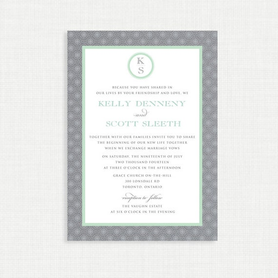 Printable Wedding Invitation with RSVP card - Printable Invitation - Digital Invitation - Monogram