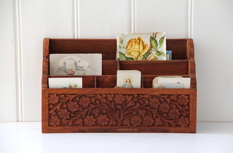 Carved wooden desk organizer office decor mail storage - Wood desk organizer ...