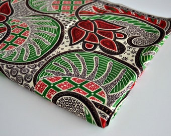 African Cotton Fabric - Red, Green, Black and White