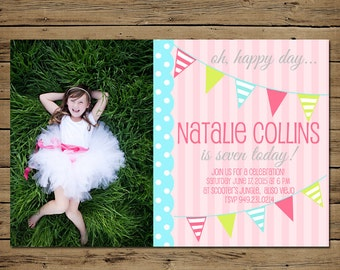 Bunting Birthday Invitation - Custom Birthday Party Invite Girl - Photo - Printable