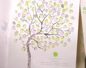 LARGE A3 Fingerprint tree teachers gift, classroom gift, thank you card, graduation gift