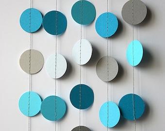 Wedding circle garland, Blue, gray, turquoise garland, Paper garland, Blue Wedding Garland, Bridal shower decor, Blue Nursery,  KC-1055