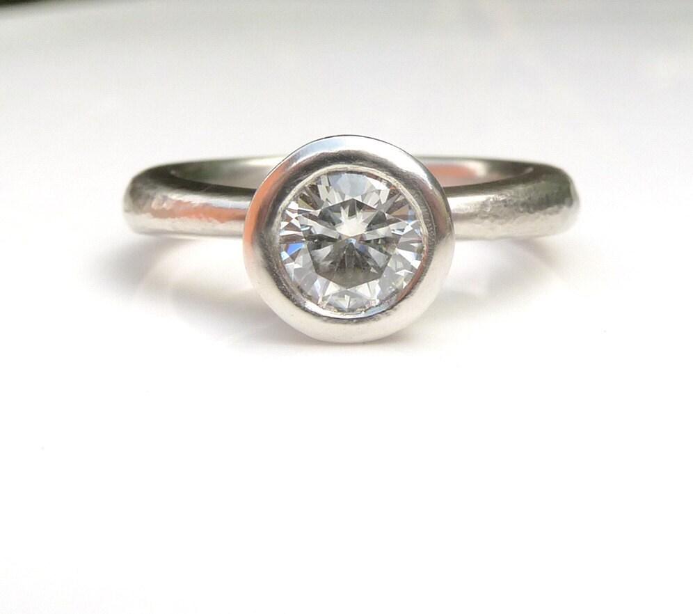 Moissanite engagement ring Palladium and moissanite