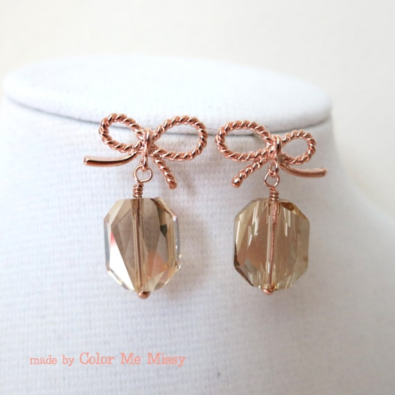 Rose Gold Bow Earring - Swarovski Crystal, Golden Shadow, earrings, bridesmaid gifts, drop, dangle, Christmas gifts ideas