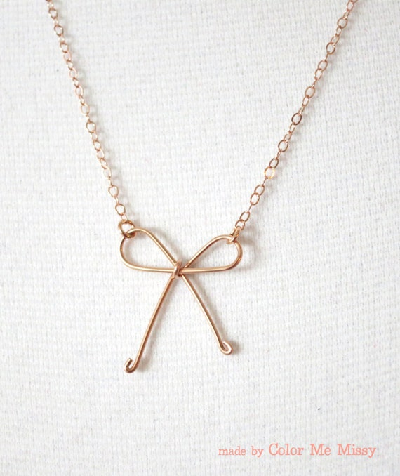 Tie the Knot - Rose Gold Filled Necklace, Hand wired knot, Bridesmaid gifts, rose gold bow necklace, Wedding jewelry, knot necklace