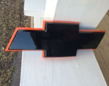 7 inch Chevy Chevrolet bow tie emblem, custom painted black and Orange,no decal,flat rear camaro,