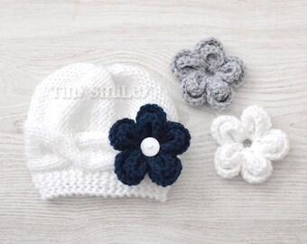White Baby Hat, Knit Baby Girl Hat wit Three Removable Flowers, White Baby Beanie, White Knit Baby Girl Hat