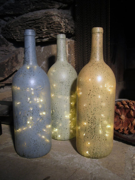 Decorated Wine Bottles With Lights Inside