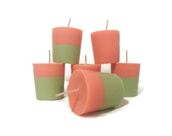 Watermelon scented soy votive candles, hand poured candles, free USA shipping!