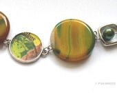 POSTAGE STAMP bracelet Upcycled eco-design Green + Yellow Zimbabwe repurposed stamp Agate & Freshwater Pearls