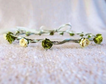 ROSEBUDS & RIBBONS Hair Garland / Circlet / Wreath - for bridesmaids, flowergirls, proms, festivals, communion