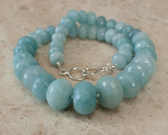 angelite necklace baby blue necklace