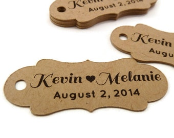 Personalized Tag - Custom Wedding Favor Tags - Wedding Tag - 50 Count - 2.0 in. x 0.75 in. - Kraft Tags - Custom Wedding Tags - Favor Tag
