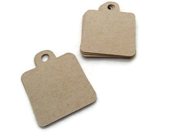 Kraft Tags - Kraft Gift Tags - Hang Tags -  55 Count - 1.25 in x 1.5 inches - Die Cut Tags - Holiday Tags - Square Tags