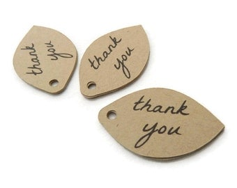 Thank You Tags - 150 Count - Hang Tags - 1.6 x 1 inch - Kraft Tags - Wedding Favor Tags - Holiday Tags - Jewelry Tags - Petal Tags TY61