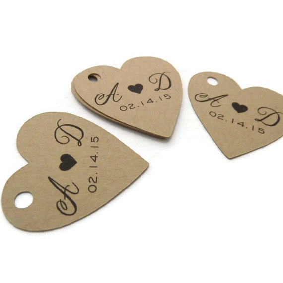 Custom Wedding Favor Tags - Heart Tags - 60 Count - Thank You Tags - 1 ...