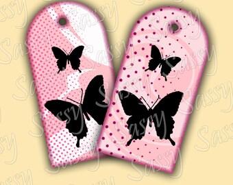 "6 Pretty Pink Tags Black Butterflies Digital Collage Sheet 2""x4"""