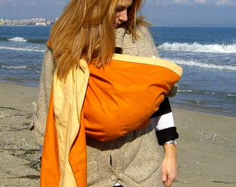 Baby Sling Ring/Baby Carrier/Reversible Baby ring Sling/Baby Wrap/Orange,Cream,Ecru