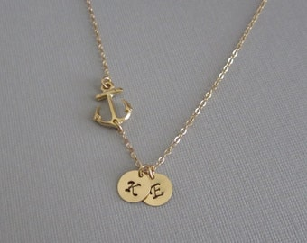 Anchor Necklace. Personalized Gold Filled Jewelry. 1.2.3.4.5.6 Initial Necklace. Friendship Jewelry. Sister Necklace.Gold Coin Charms