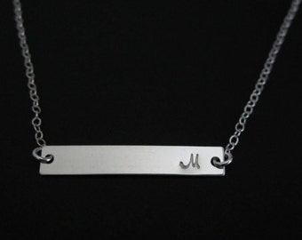 SALES: SILVER BAR Necklace. 1.2.3 Initial Necklace. Layering Necklace. Dainty Jewelry. Bridesmaid Necklace. Friendship. Celebrity Inspired.