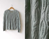 vintage grey blue wool sweater | cable knit jumper | small medium