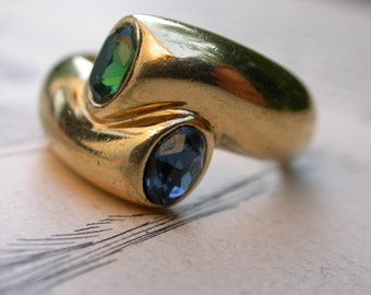 French Vintage art deco solid bronze ring   gold plated  size 9 aqua blue emerald green crystal engagement ring