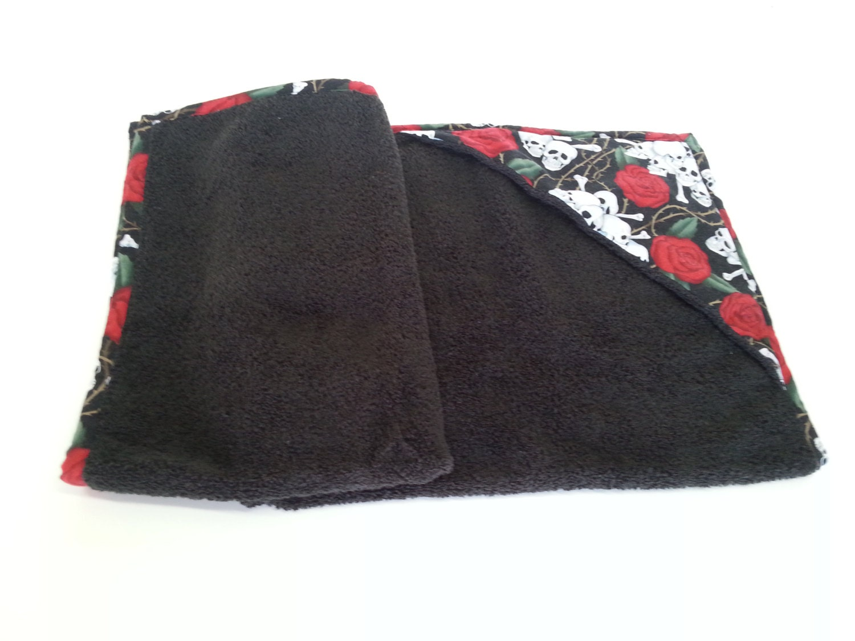 Baby Bath Towel Roses and Skulls Hooded Baby Bath Towel