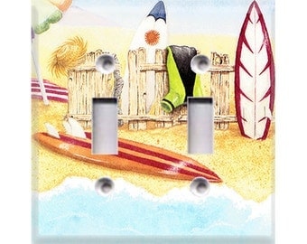 Surfboards Style 2 Double Light Switch Cover