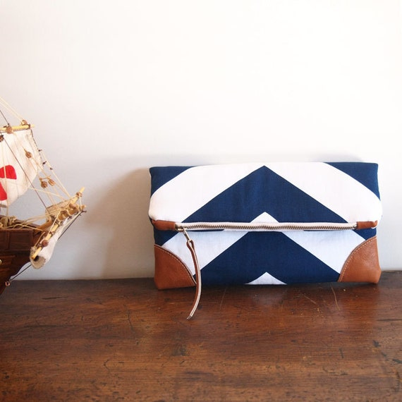Navy/Nautical Fold over Clutch purse/ blue-white chevron/ leather details/ summer purset/zipper clutch/cruise/yacht/ sea party