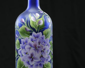 1.5 Ltr. Hand Painted Lighted Wine Bottle / Purple Hydrangea on Blue Bottle