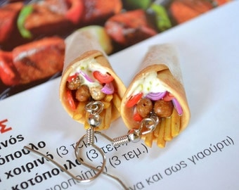 Greek traditional ''pita souvlaki'' earrings, Greek souvlaki polymer clay earrings