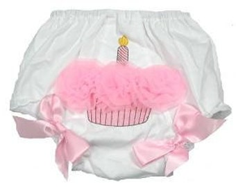 Light Pink Cupcake Bloomers Baby Girl Diaper Cover First Birthday Photo Prop / Size 9 - 18 months