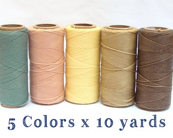 Waxed Cord - Macrame Cord - Waxed Polyester Thread - Set of 5 Colors - 10 yards each - CREAM