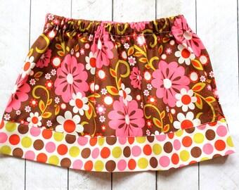 girls skirt fall skirt summer skirt pink brown cream skirt flower twirly skirt girls clothing fall clothing simple skirt toddler skirt