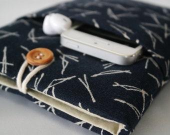iPad Mini Sleeve, iPad Mini Case, iPad Mini Cover, Kindle, Nook, Nexus pouch With Pocket - Japanese indigo cotton