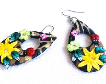 Summer Earrings, Colourful Earrings, Fashion Earrings, Dangle Earrings, Artistic Earrings, Flower Earrings, Animal Print Earrings