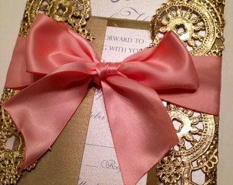 DEPOSIT - Metallic Doilies Wedding Invitation Suite with Ribbon Bow