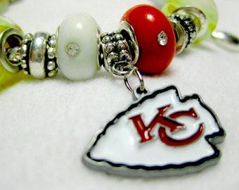 Kansas City Chiefs Licensed Charm on a European Style Bracelet