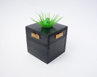 Black/Green little wood box