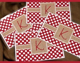 Burlap Look Placemat Set of Four, Personalized Placemats, Monogrammed Placemats, Laminated Placemats, Paper and Laminate Placemats