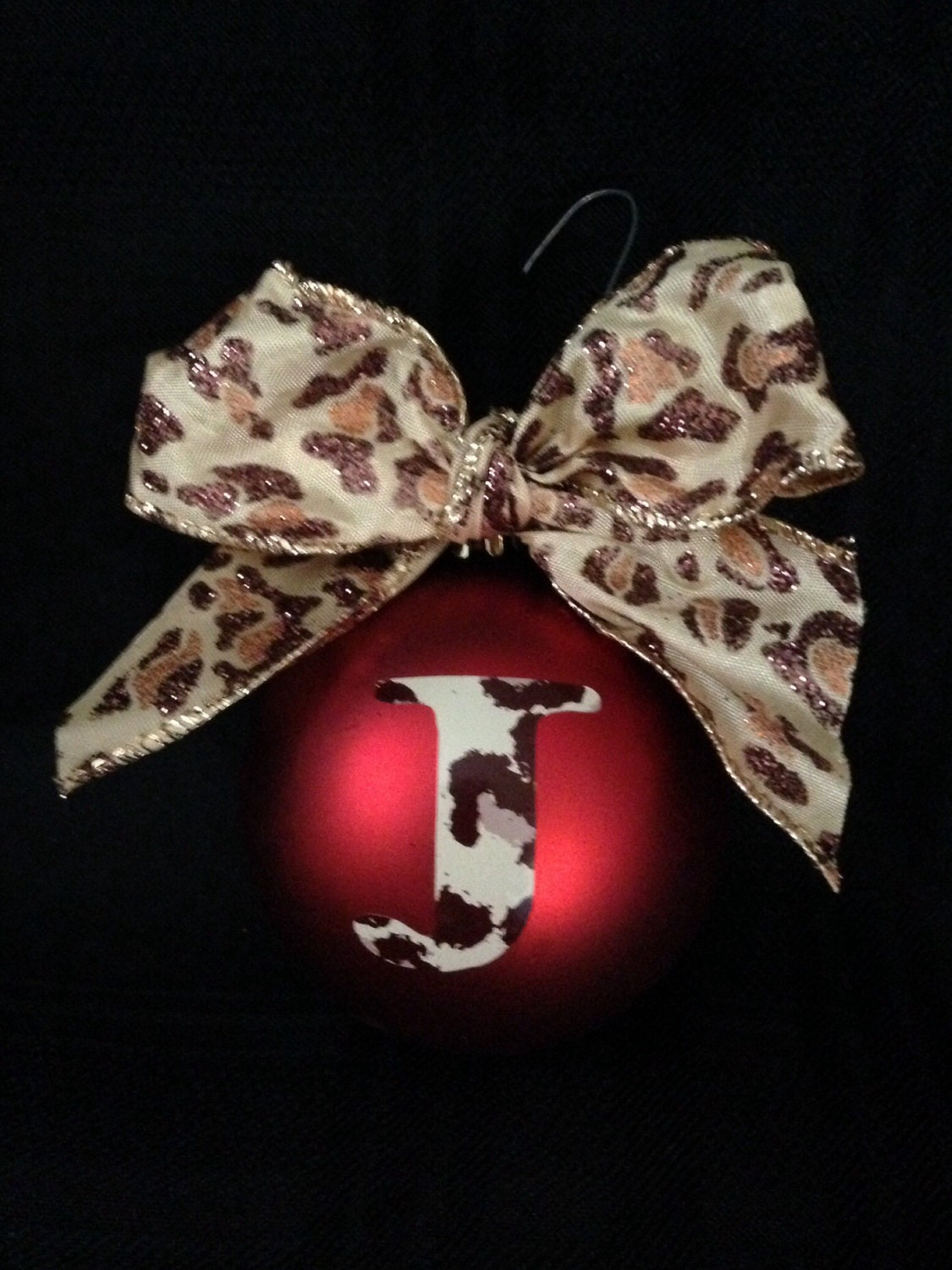 Christmas ornament leopard print Initial with matching bow