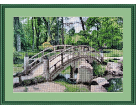 Serenity, Cross Stitch Kit Landscape, forest, park, bridge