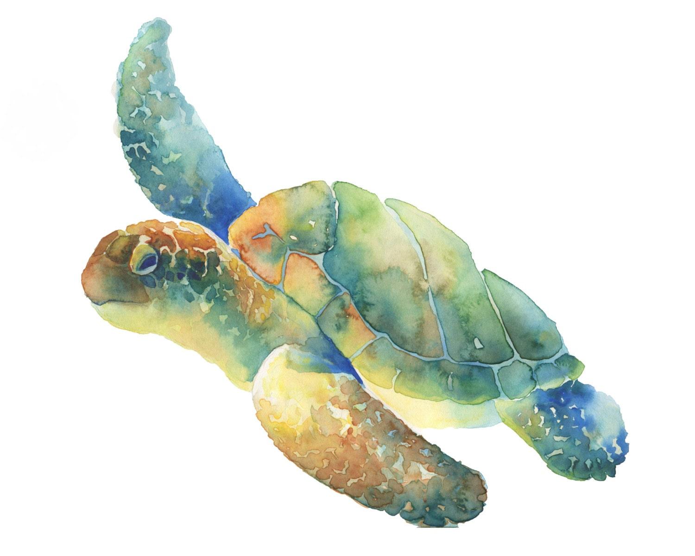 Sea Turtle print of my original watercolor painting by