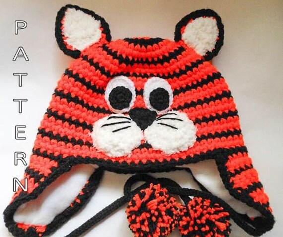 Crochet Pattern Tiger Cat Hat earflap beanie by ...