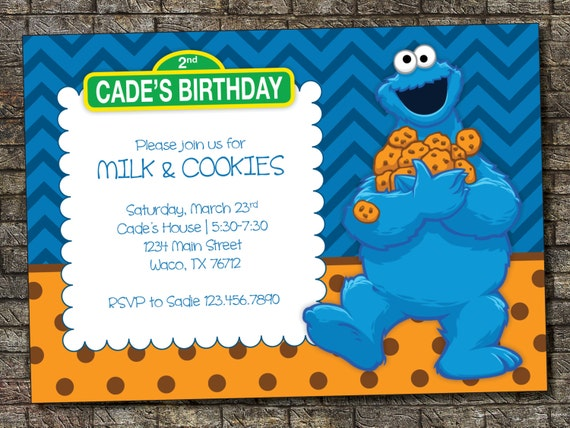 Items similar to Cookie Monster Birthday Invitation, Milk ...
