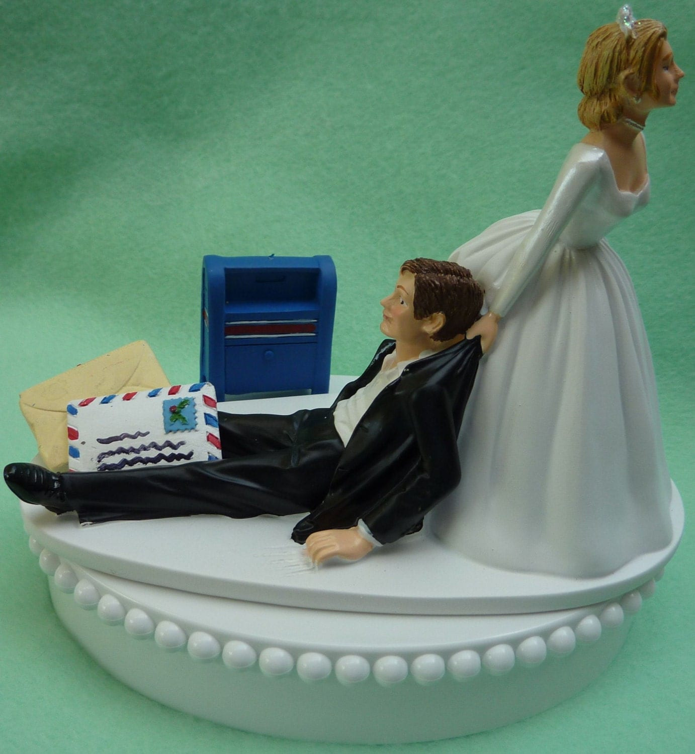 wedding cake carrier wedding cake topper mailman mail carrier postal post office 22169
