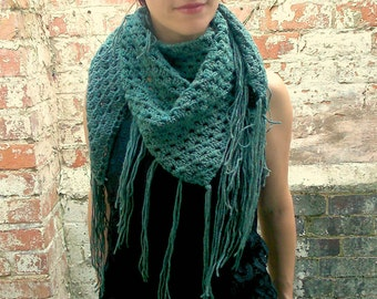 Crochet triangle scarf with tassels.Green  crochet scarf,shawl,shrug with fringe.Spring scarf.Festival scarf.